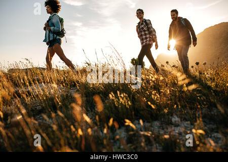 Trois jeunes amis sur un pays de marche. Groupe de personnes la randonnée à travers la campagne. Banque D'Images