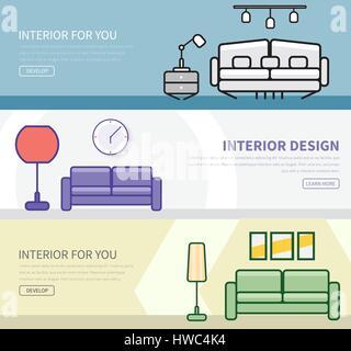 Ensemble de bannières dans un style plat avec un design intérieur en différentes couleurs et formes. Vector illustration Banque D'Images