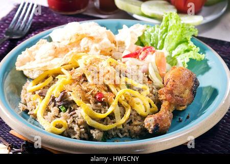 Nasi Goreng ou riz frit avec du poulet et des oeufs Banque D'Images
