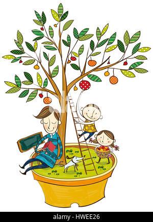 Père,fils,fille,soeur,frère,garçon,fille,famille,amour,confiance,fond blanc,lecture,jouer,jardin,arbres,extérieur,Environnement,Green Banque D'Images