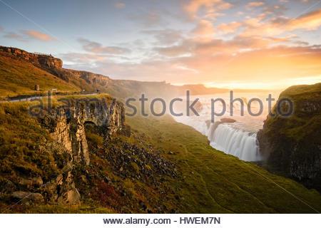Vue panoramique, Gullfoss, Islande Banque D'Images
