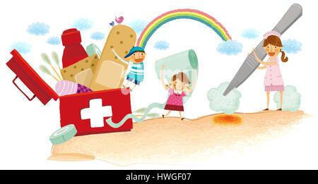 Les premiers soins médicaux,fort,fort aide médicale,coffre,Protection,urgence urgence,femme,femme,infirmière,uniforme,fille,garçon Banque D'Images