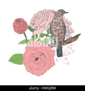 Fleurs et oiseaux Banque D'Images