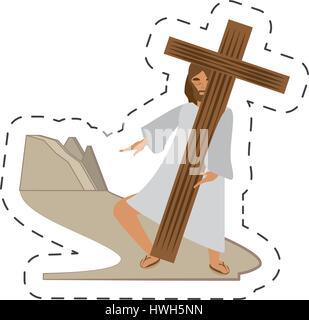 Caricature jésus christ rencontrez la Vierge Marie - via crucis gare
