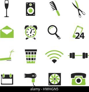 Chambre d'hôtel simplement des icônes pour site web et d'interfaces utilisateur Banque D'Images