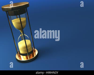 Illustration 3d de sable réveil sur fond bleu Banque D'Images