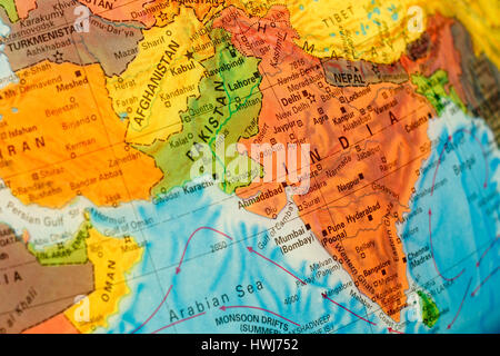 Carte de l'Inde.focus sélectif sur Delhi. Éclairage rétroéclairé Banque D'Images