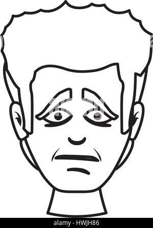 Triste portrait dessiné Banque D'Images