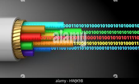 Abstract 3d illustration de données numériques par câble à l'intérieur Banque D'Images