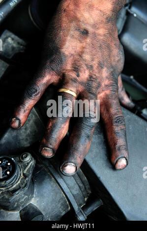 Une personne, un groupe de travail, bras, noir, travaux publics, craftemployment workprofessional illégalement l'emploi, Banque D'Images