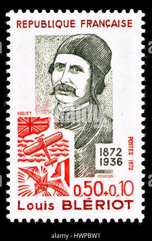 Timbre-poste français (1972): Charles Joseph Louis Blériot (1872 - 1936) Français aviateur et inventeur et ingénieur. Banque D'Images