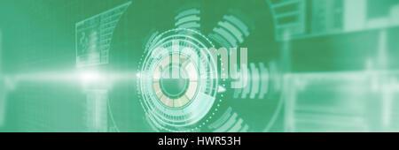 Image composite du bouton de volume contre trace pouls contre green 3d'arrière-plan Banque D'Images