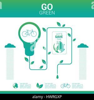 Passez au vert monde soucieux de l'environnement Banque D'Images