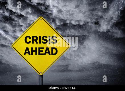 Crise avant de signer dans une tempête de pluie concept pour des problèmes financiers, le risque et la dépression Banque D'Images