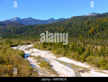 L'Allemagne, la Bavière, l'Isar, près de la vallée de l'Isar Wallgau Banque D'Images