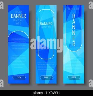 Définir des bannières web vertical avec fond bleu abstrait polygonal avec éléments transparents et boutons. Vector Banque D'Images