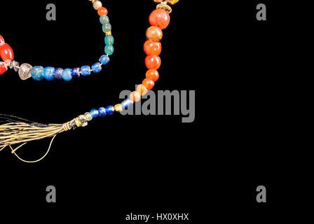 Perles d'ambre préhistoriques de l'Asie du Sud. Banque D'Images