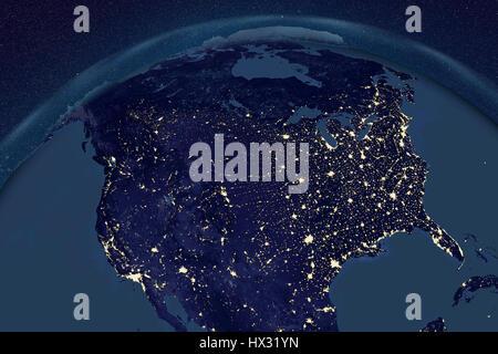 La terre de l'espace dans la nuit. Illustration montrant l'ordinateur comme la Terre vue de l'espace, centrée sur Banque D'Images