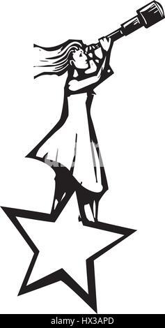 Xylographie expressionniste style image d'une femme debout sur une étoile de regarder le ciel avec un télescope. Banque D'Images