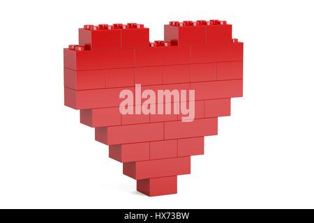 Coeur faits de briques colorées toy, rendu 3D isolé sur fond blanc Banque D'Images