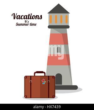 L'heure d'été vacances valise phare Banque D'Images