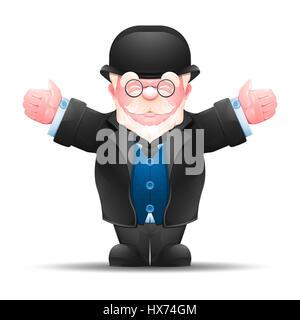 Man étendit ses mains pour les deux parties. Portrait d'homme âgé habillé en costume formel isolé sur blanc. Banque D'Images
