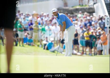 Austin, Texas, États-Unis. 26 mars 2017. Dustin Johnson en action at World Golf Championships Technologies Dell Banque D'Images