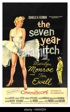 """Retro Vintage 1950 motion picture film cinema affiche de Marilyn Monroe dans """"les sept ans Itch' les sept ans démangent Banque D'Images"""