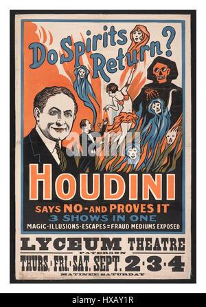Vintage 1909 Houdini historique affiche animation ' Les Esprits Retour?' Houdini dit non - et le prouve. 3 salons Banque D'Images