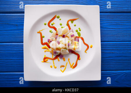 Recette Ceviche de style moderne Gastronomie La cuisine moléculaire Banque D'Images