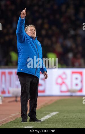 Baku, Azerbaïdjan. Mar 26, 2017. Headcoach de l'Azerbaïdjan Robert Prosinecki au cours de la qualification de la Banque D'Images