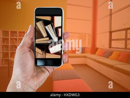 Digital composite de pair avec phone montrant l'article livres contre avec incrustation d'orange Banque D'Images