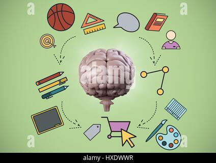 Rose de cerveau avec des graphiques de l'éducation contre fond vert Banque D'Images