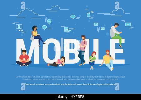 L'utilisation de périphériques mobiles concept illustration Banque D'Images
