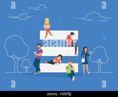 Menu hamburger et le site mobile usage usage concept illustration Banque D'Images