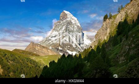 Le Mont Cervin ou Monte Cervino pic de montagne, Zermatt, Suisse Banque D'Images