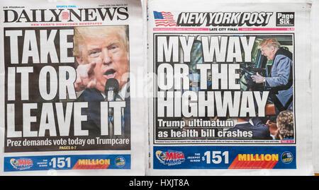 Les titres des journaux de New York le Vendredi, Mars 24, 2017 rapport sur l'ultimatum du Président Donald Trump au Congrès d'adopter le projet de loi de soins de santé, Trumpcare GOP. (© Richard B. Levine)