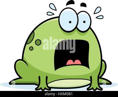 Illustration d'un dessin d'une grenouille à la peur. Banque D'Images