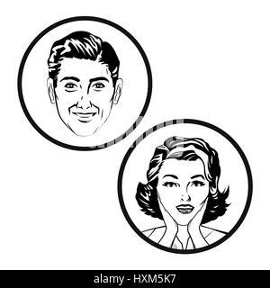 Image pop art comic couple Banque D'Images