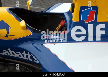 Close-up of Nigel Mansells, gagnante de la course 1992, Williams FW14B de Formule 1, à l'affiche au Silverstone Classic Media Day Banque D'Images