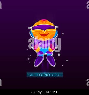 L'Intelligence Artificielle AI , joie du robot. Banque D'Images