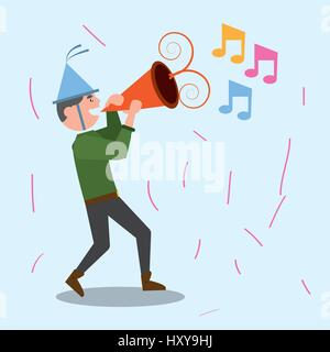 Cheerful man celebration party music vector illustration eps 10 Banque D'Images