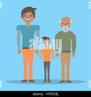 Grand-père de famille belle père et fils