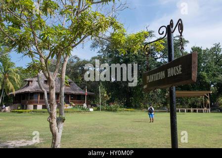 Seychelles, La Digue, L'Union Estate. Maison de Plantation historique, Patrimoine National. Résidence typique avec Banque D'Images