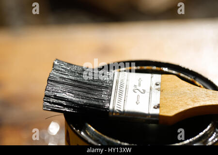 Badigeonner reposant sur une boîte de peinture de protection pour le traitement du bois contre les intempéries, Banque D'Images