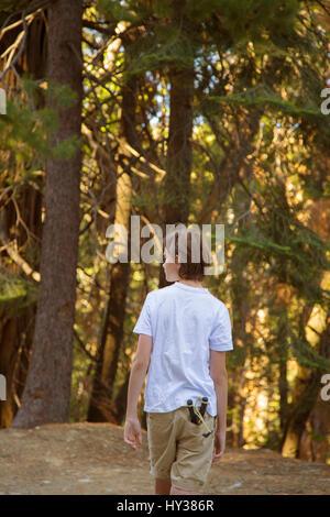 États-unis, Californie, Yosemite, boy (14-15) marche à travers forêt avec jouet catapulte dans Pocket Banque D'Images