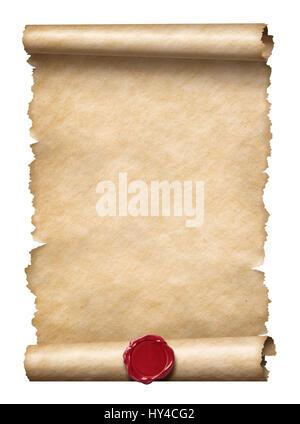 Vieux faites défiler ou lettre avec sceau en cire isolated on white Banque D'Images