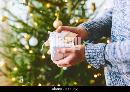 La Finlande, l'homme avec un cadeau à l'arbre de Noël Banque D'Images