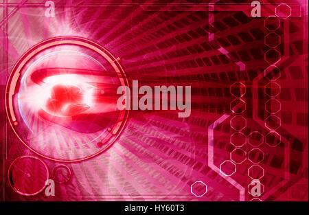 Virtuelle numérique abstrait arrière-plan de la haute technologie avec des couleurs rouge et effets spéciaux. Banque D'Images