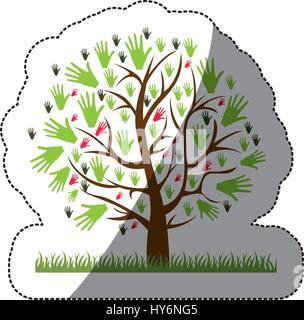 Sticker silhouette couleur d'arbre avec des feuilles en forme de mains Banque D'Images